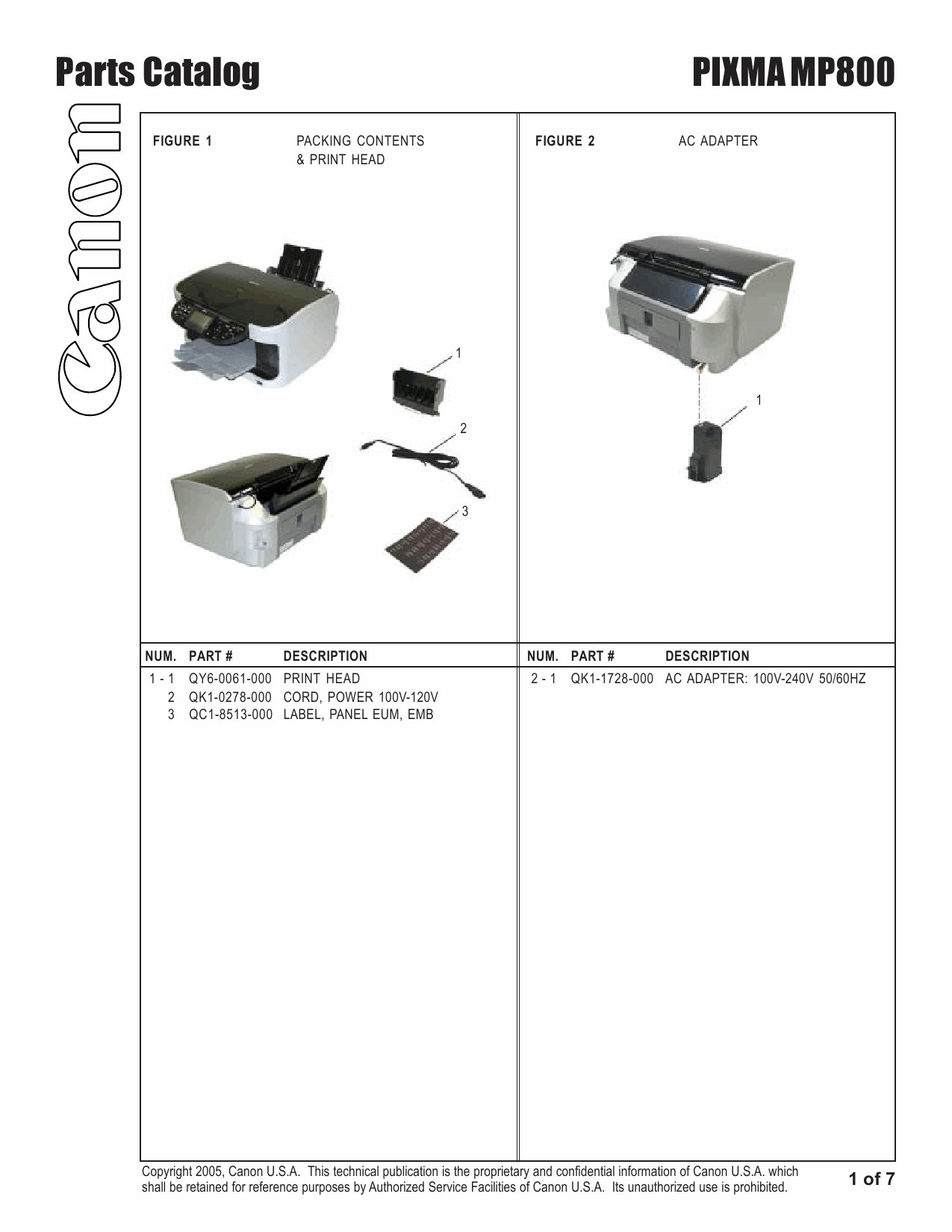 Canon PIXMA MP800 Parts Catalog Manual-2